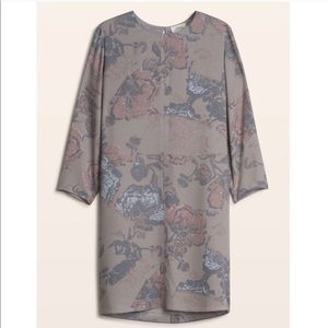 Wilfred gray floral shift 3/4 sleeve mini dress